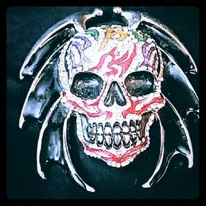Accessories - Blinged Out Skull w/Batwings Belt Buckle